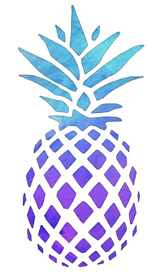 blue watercolor photographic. Pineapple clipart purple