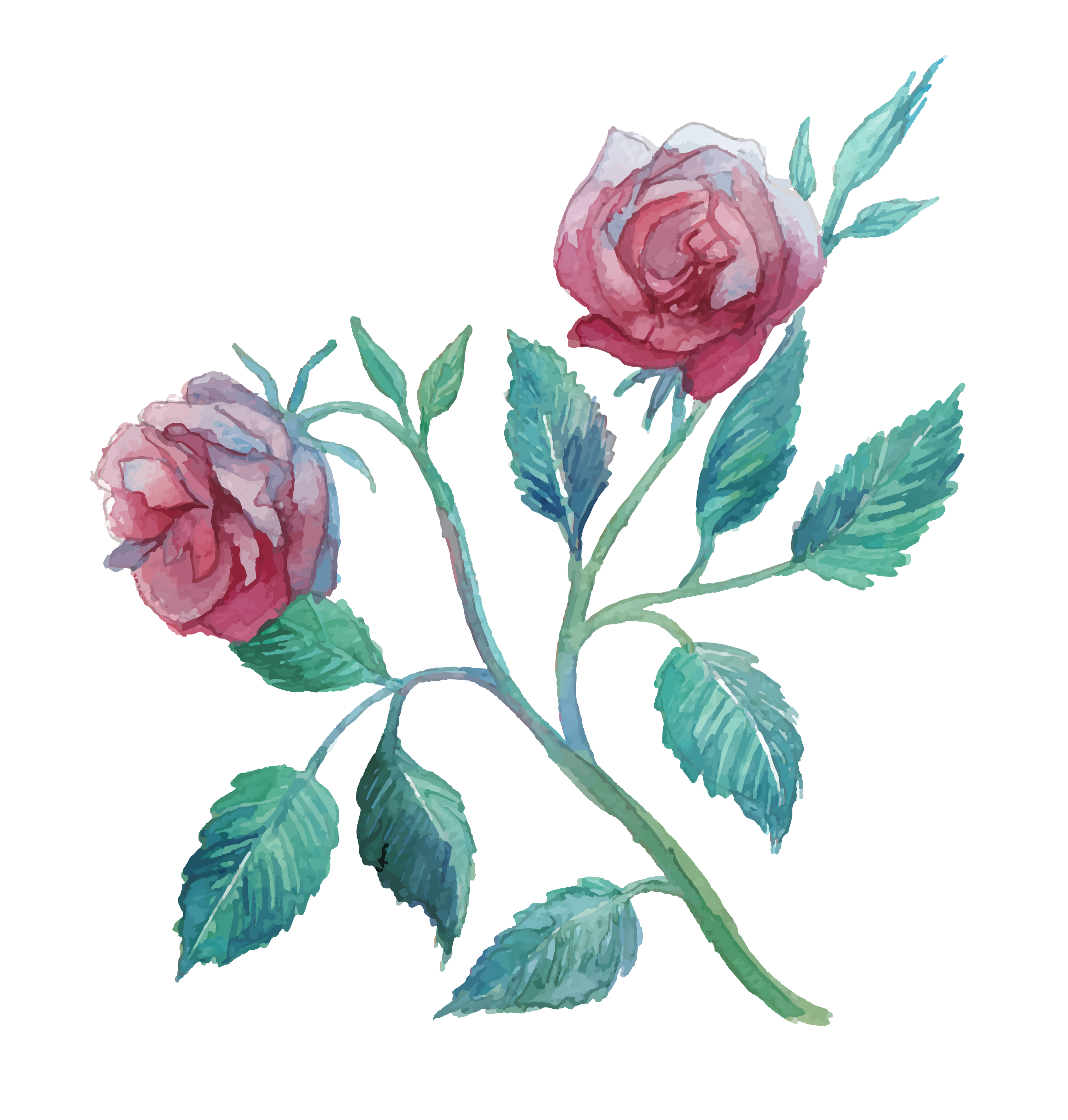 Flower watercolor painting clip. Pineapple clipart rose gold
