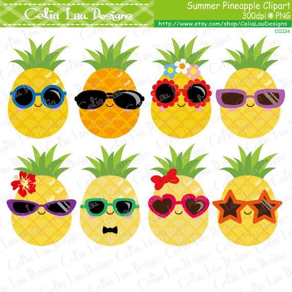 Pineapple clipart summer. Cute clip art sunglasses