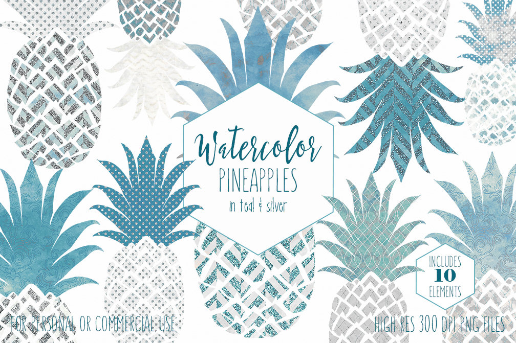 Pineapple clipart teal. Silver commercial use clip