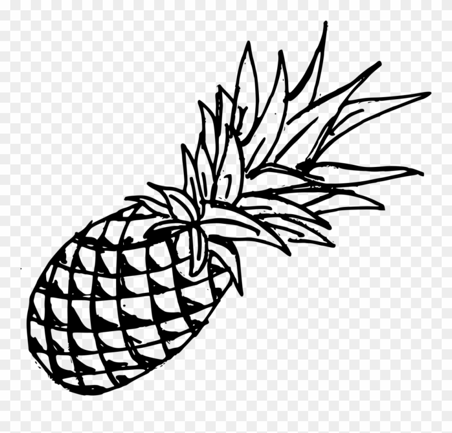Drawing black transparent . Pineapple clipart template