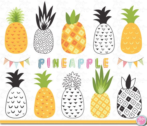 Clip art summer pack. Pineapple clipart tropical
