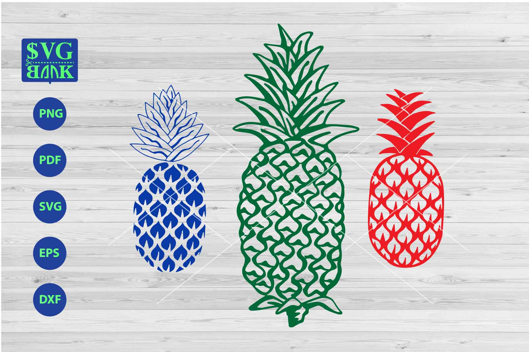 Svg set of . Pineapple clipart vector