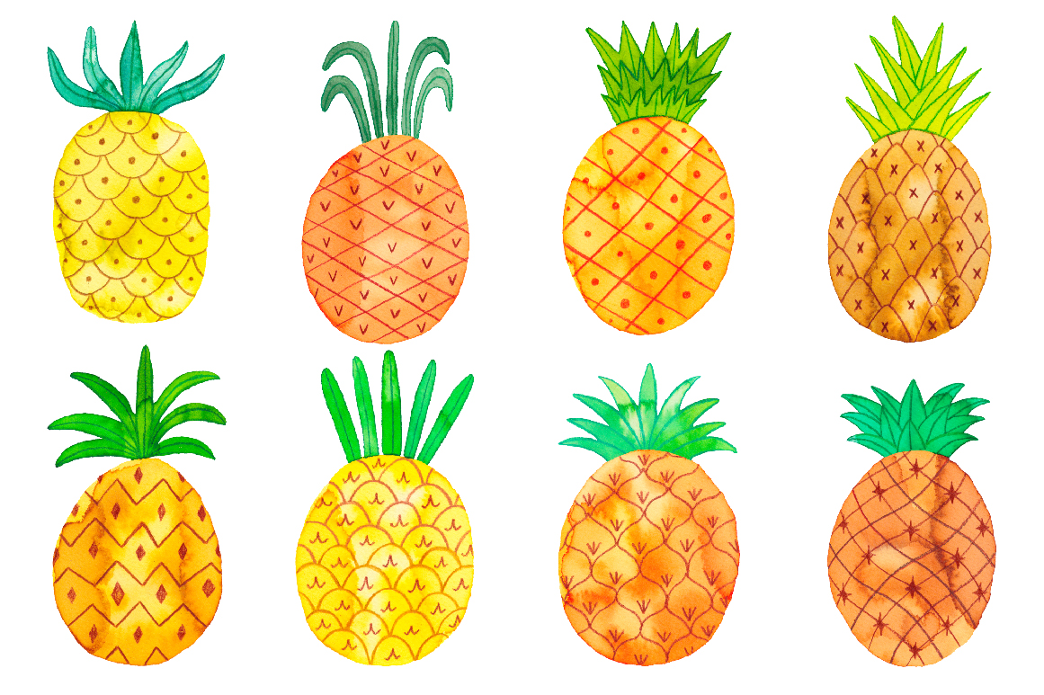 Pineapple clipart watercolor. Set in illustrations on