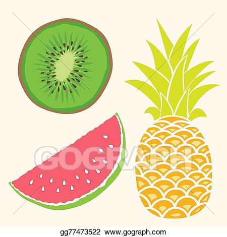 Pineapple clipart watermelon. Eps vector fruit set
