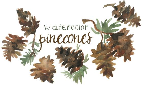 Pinecone clipart clip art. Watercolor for scrapbooking holiday