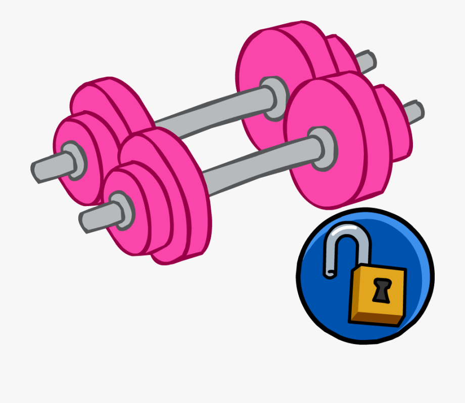 Weight clipart pink. Weights dumbbell club penguin