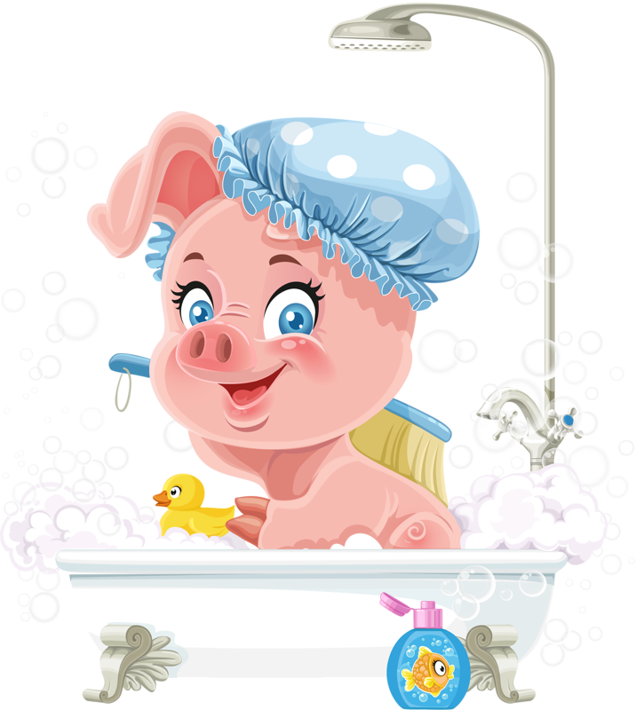 Pretty pink little piggy. Showering clipart bathtub shower