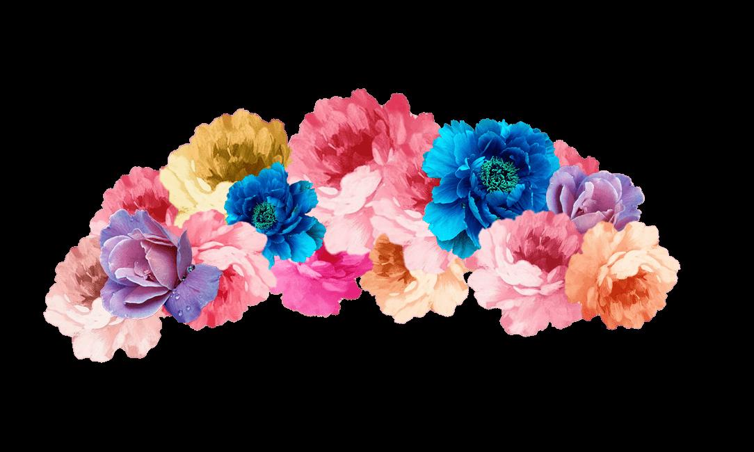 Bouquet cut flowers headband. Pink flower crown png
