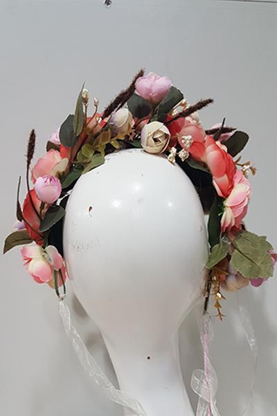 Pink flower crown png. Titania new zealand designer