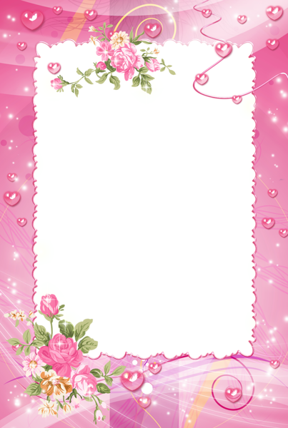 Photo with roses frames. Pink frame png