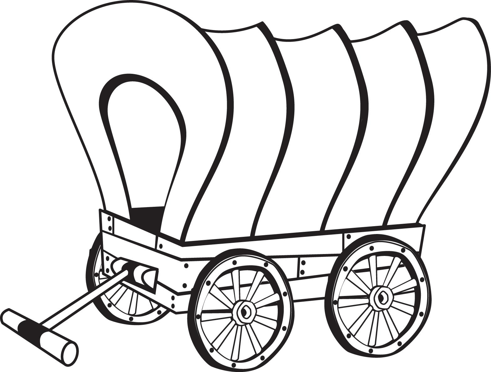 Wagon clipart printable. Pioneer drawing free download