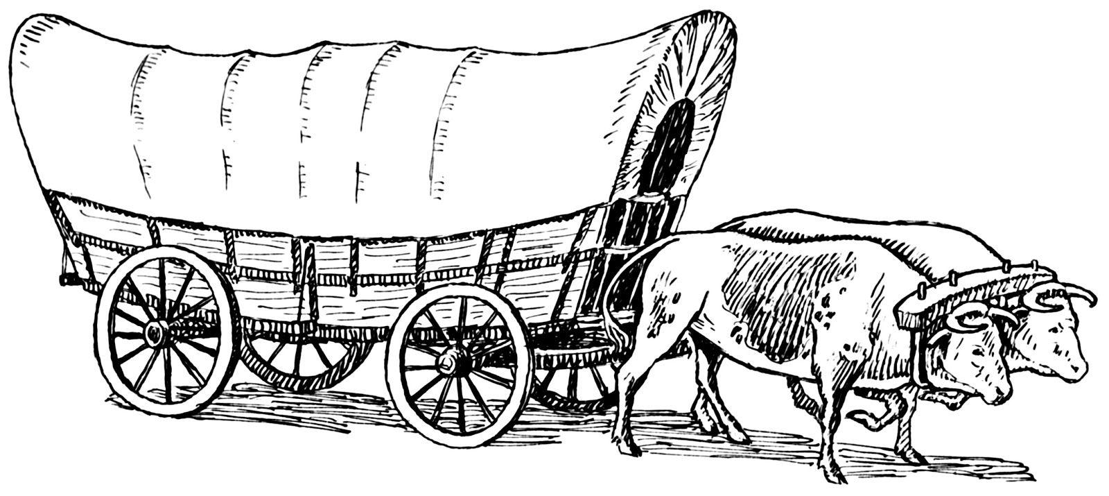 Two oxen conastoga west. Wagon clipart sketch