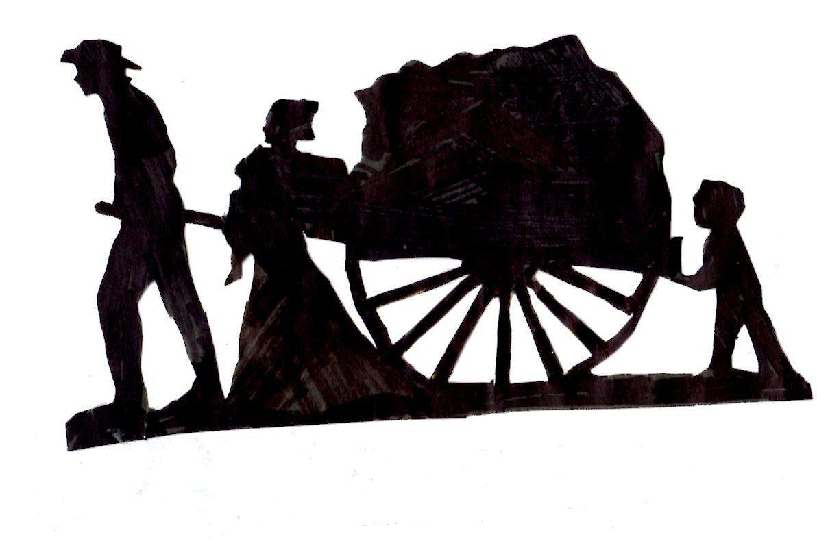 Handcarts to zion silhouette. Wagon clipart pioneer trek