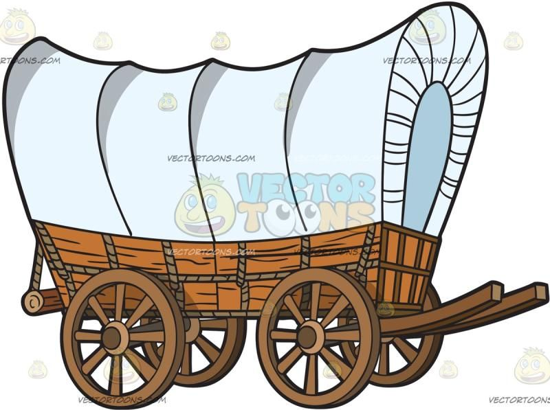 A wagon with wooden. Pioneer clipart prairie schooner