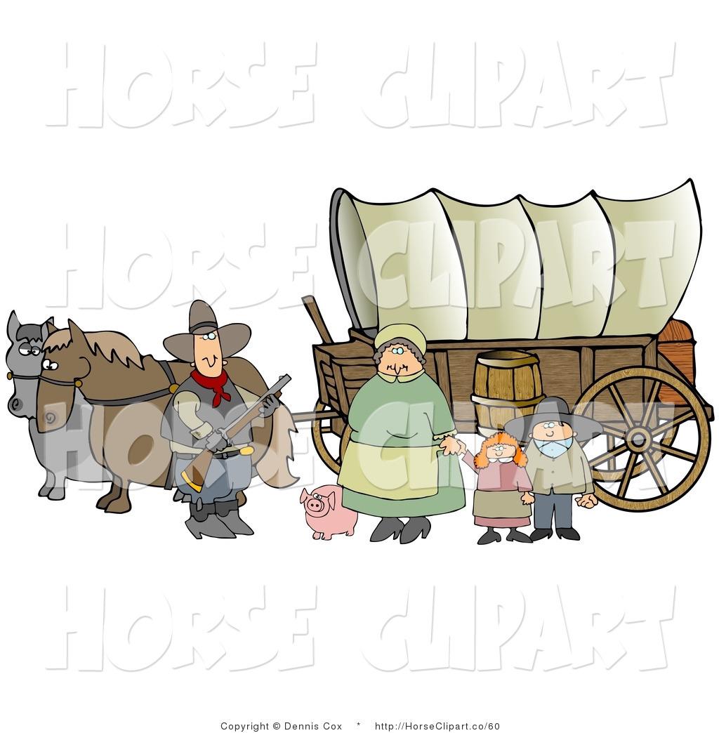Wagon clipart settler. Clip art of a