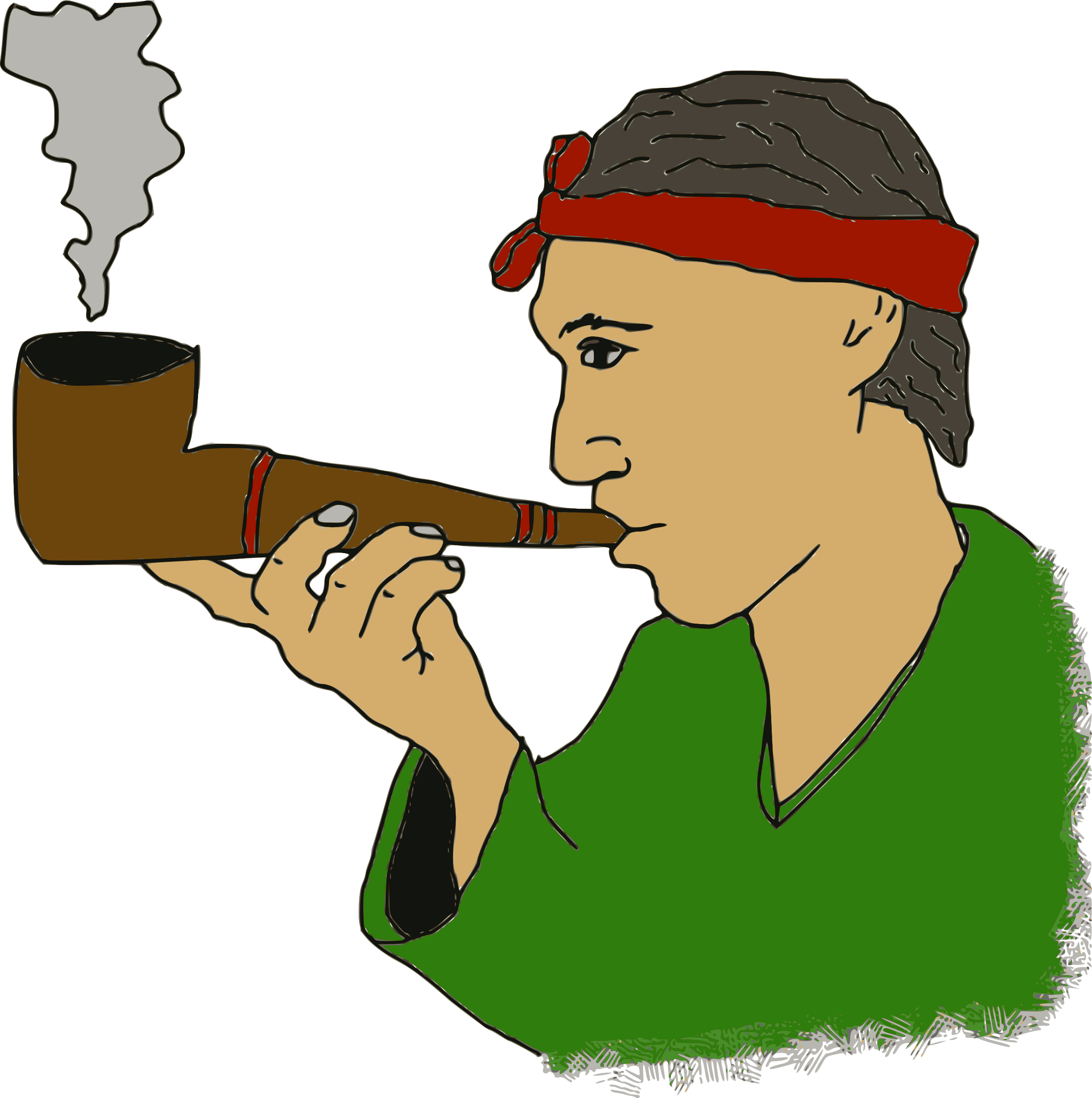 Man with a big. Pipe clipart small