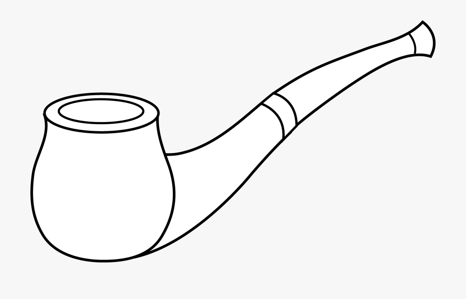 Pipe clipart tobacco pipe. Line art drawing free
