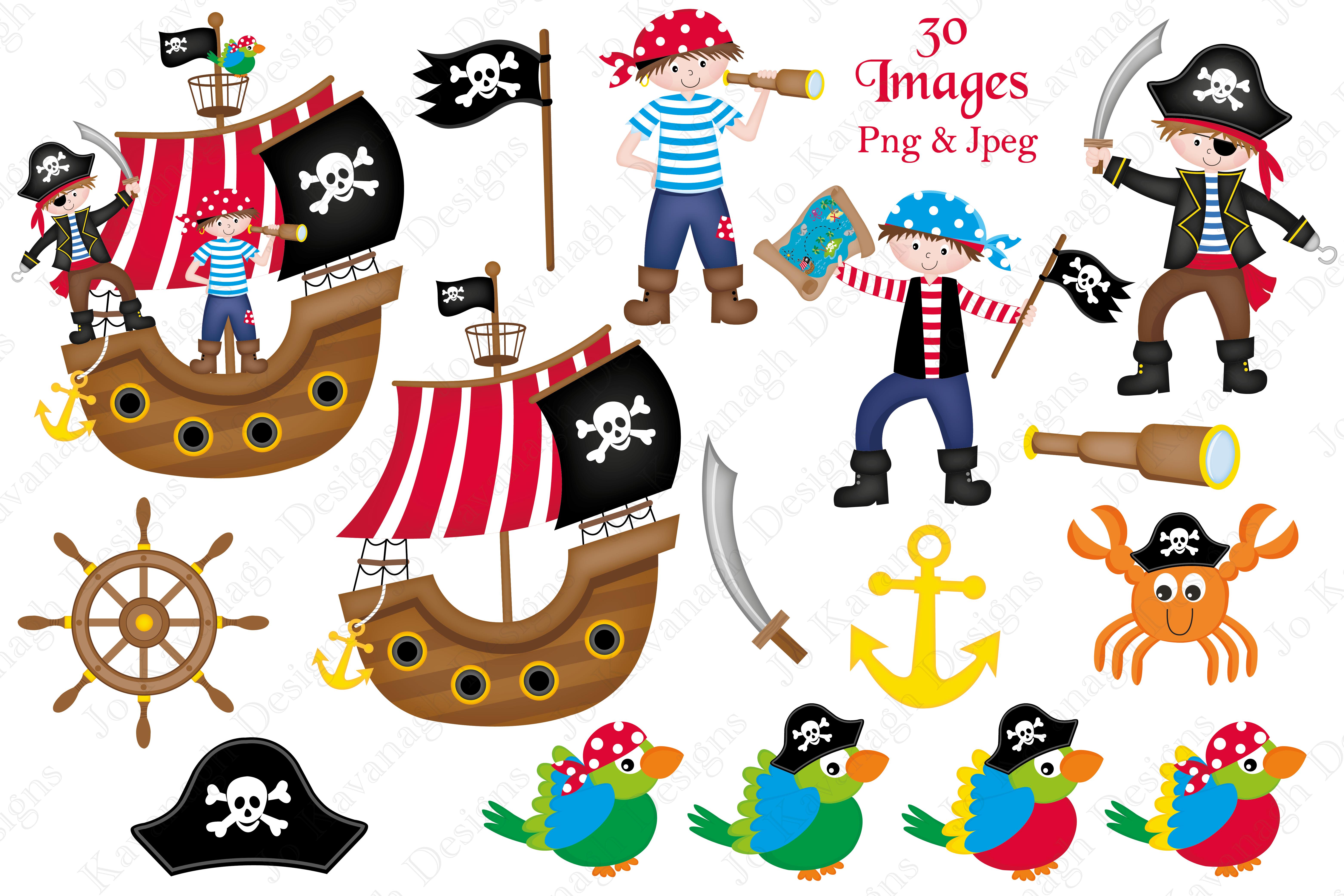 Graphics illus design bundles. Pirate clipart