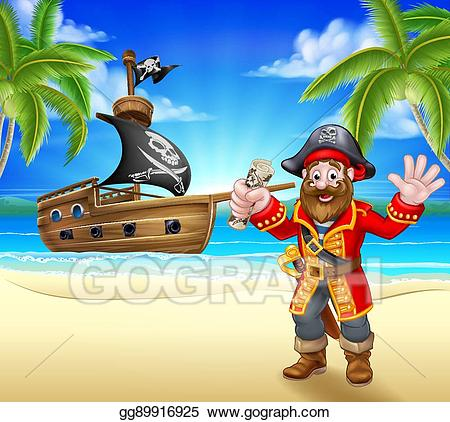 Pirates clipart beach. Vector art cartoon pirate