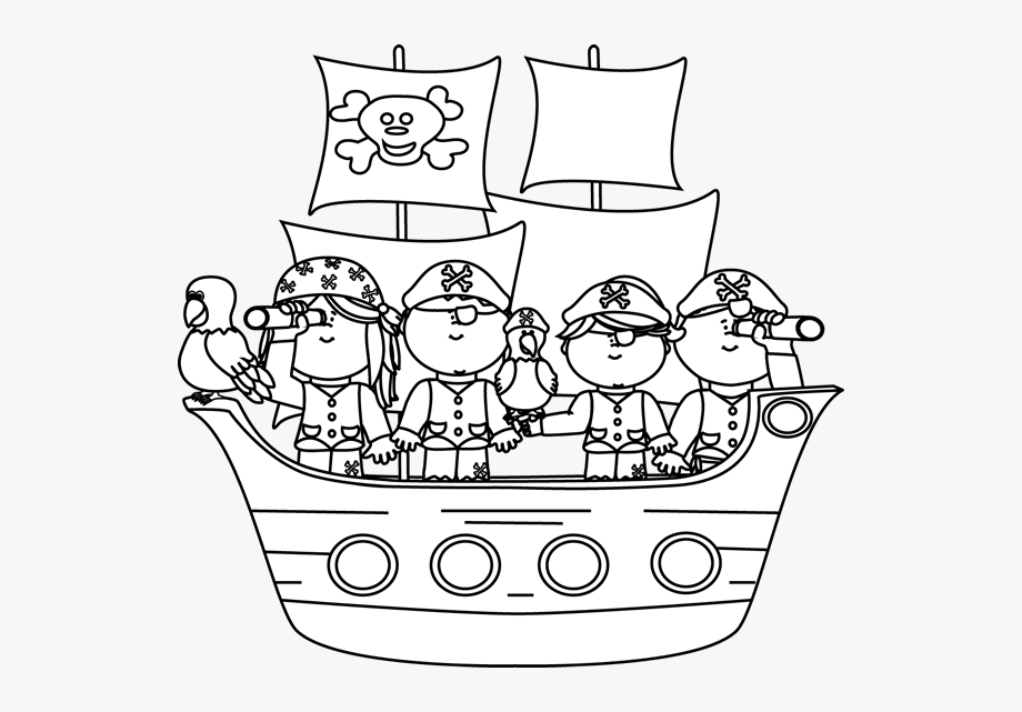 Pirates clipart black and white. On a pirate ship