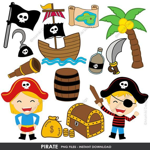 Pirates clipart invitation. Pirate cute clip art