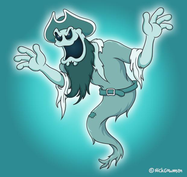 Cartoon illustration in salisbury. Pirate clipart ghost