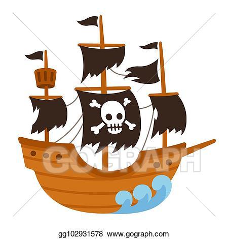 Vector illustration ship cartoon. Pirate clipart ghost
