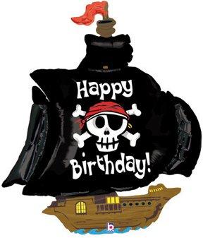 Pirate clipart happy birthday. Black ship skull cross