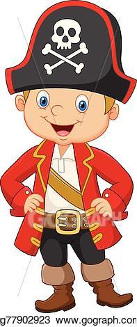 Vector stock cartoon captain. Pirate clipart little boy