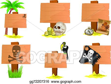 Pirate clipart sign. Vector stock illustration gg