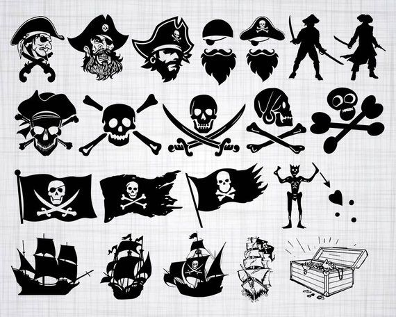 Svg bundle cut . Pirate clipart silhouette