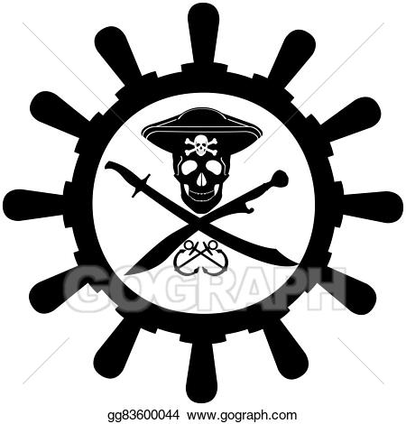 Vector illustration steering of. Wheel clipart pirate boat