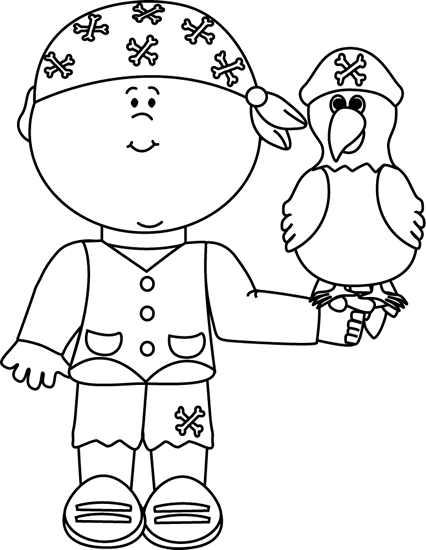 Pirate with parrot . Pirates clipart black and white