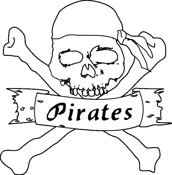 Pirates clipart black and white. Pirate bw clip art