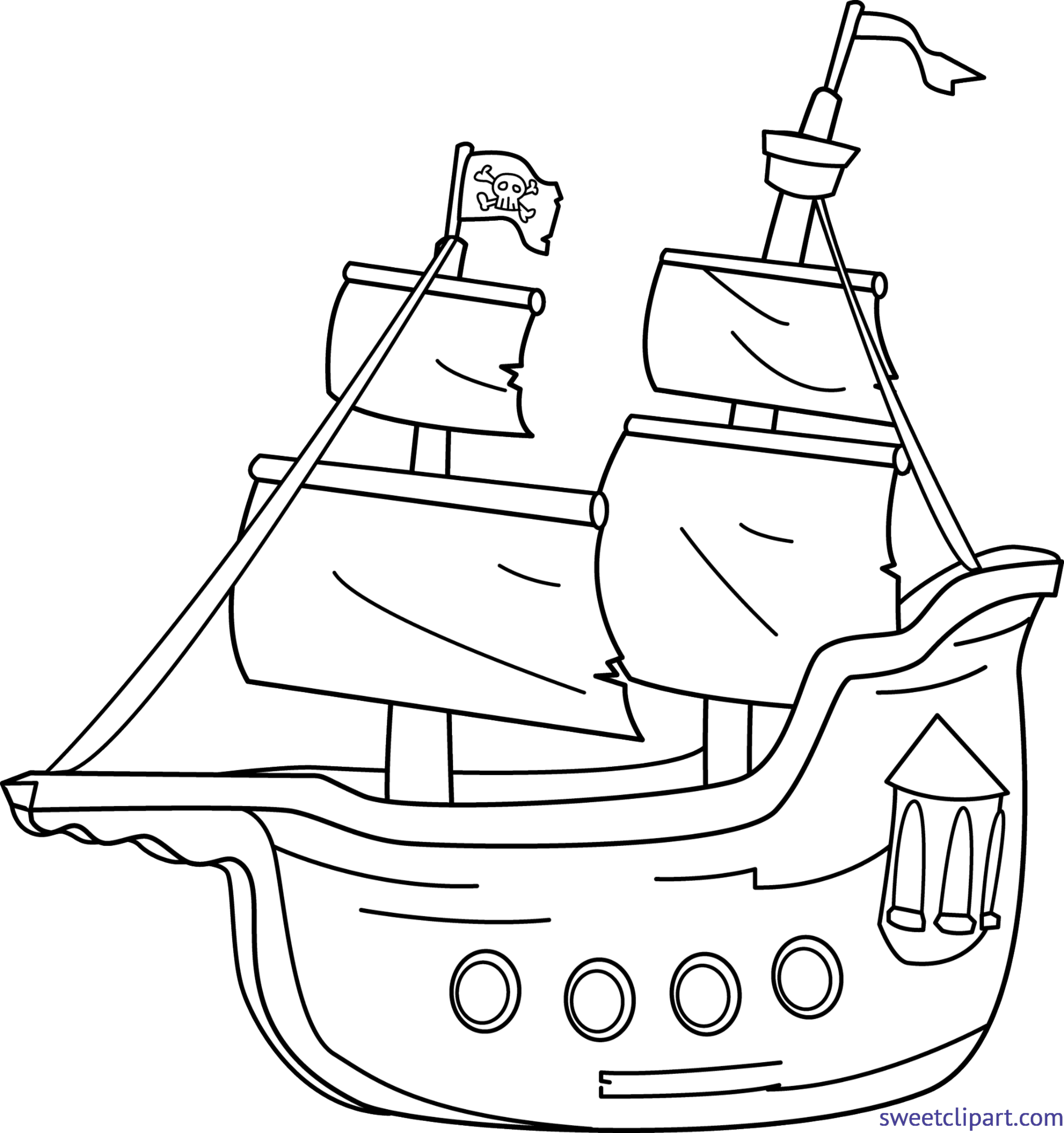 Pirate ship lineart clip. Windy clipart foggy