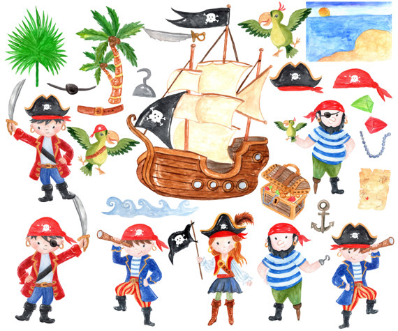 Pirate kids watercolor cute. Pirates clipart invitation