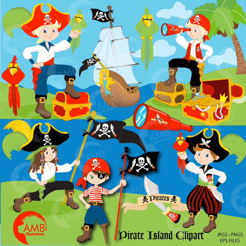 Pirates clipart invitation. Combo boy pirate and