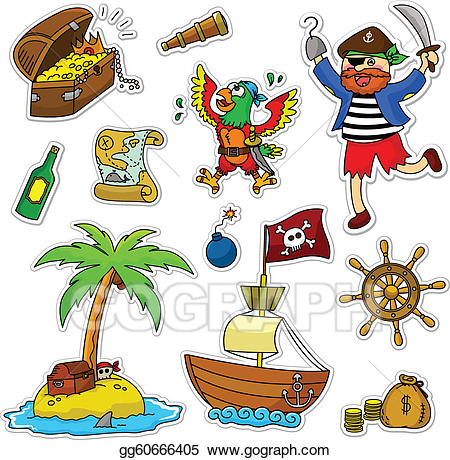 Vector art pirate collection. Pirates clipart item