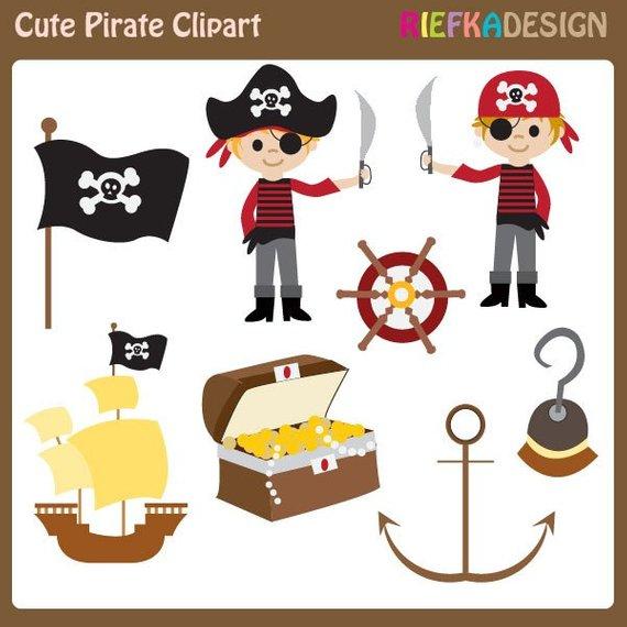 Cute pirate set boy. Pirates clipart item