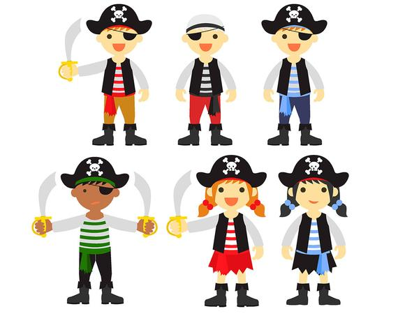 Pirates clipart printable. Sale pirate set clip