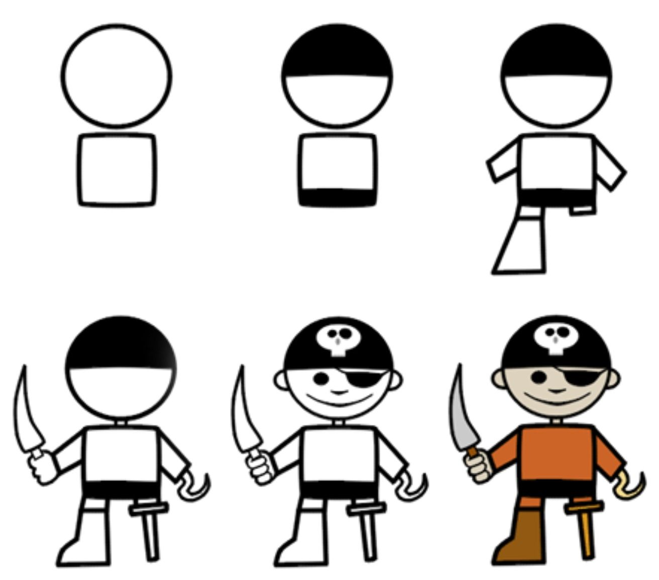 Pirates clipart simple. How to draw a