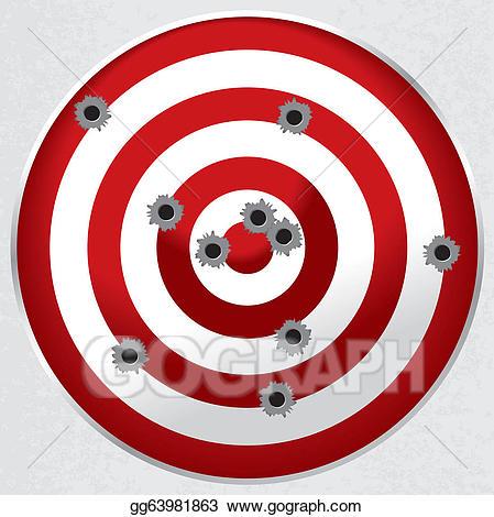 Shot clipart shooting target. Vector range gun with