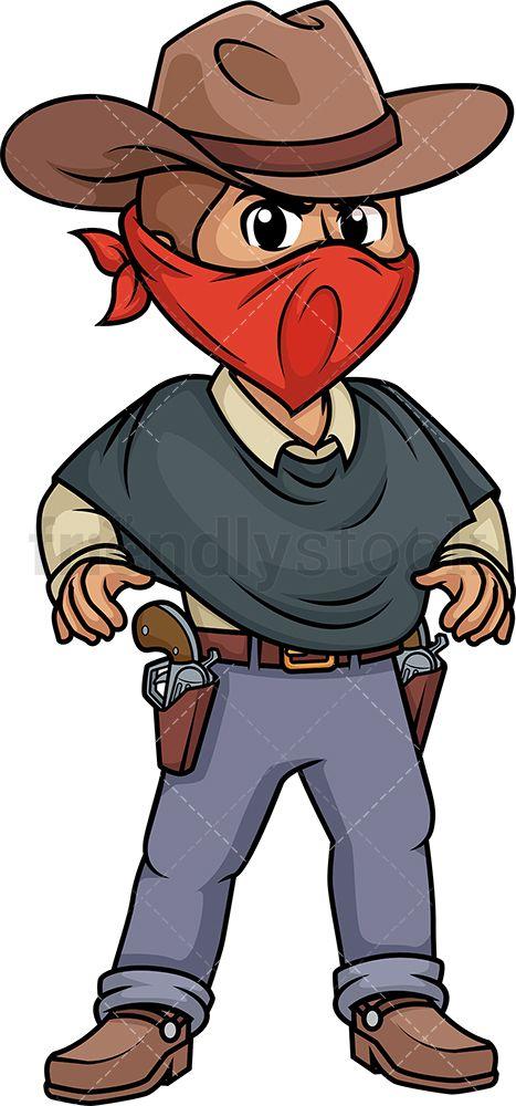 Pistol clipart outlaw. Wild west gunslinger vector
