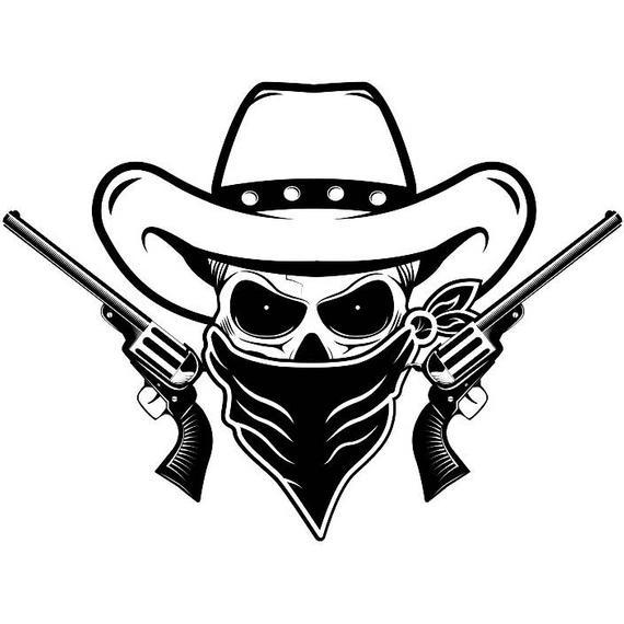 Cowboy logo skull guns. Pistol clipart outlaw