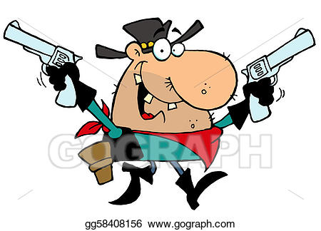 Pistol clipart outlaw. Vector illustration cowboy with