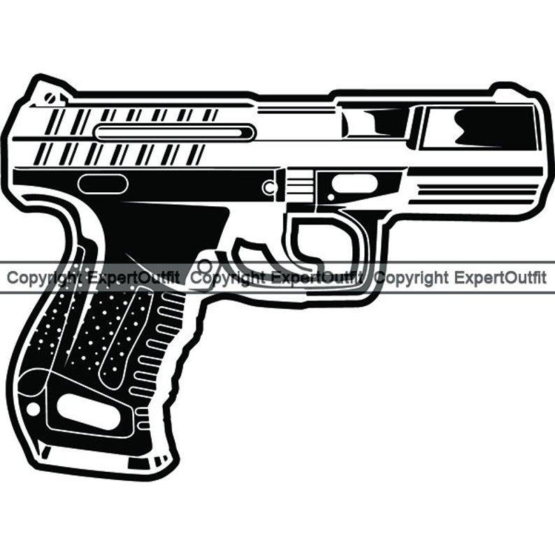 Pistol clipart police gun. Handgun army military kill