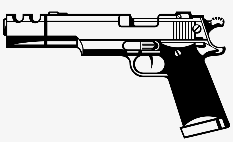 Pistol clipart transparent. Gun black and white