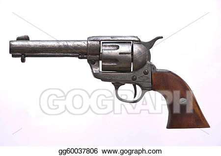 Stock illustration cowboy gun. Pistol clipart western
