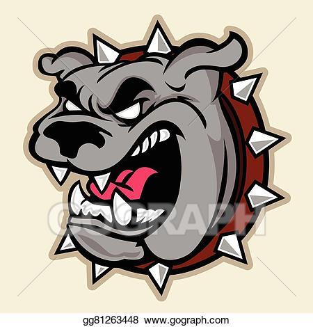 Vector stock head illustration. Pitbull clipart angry